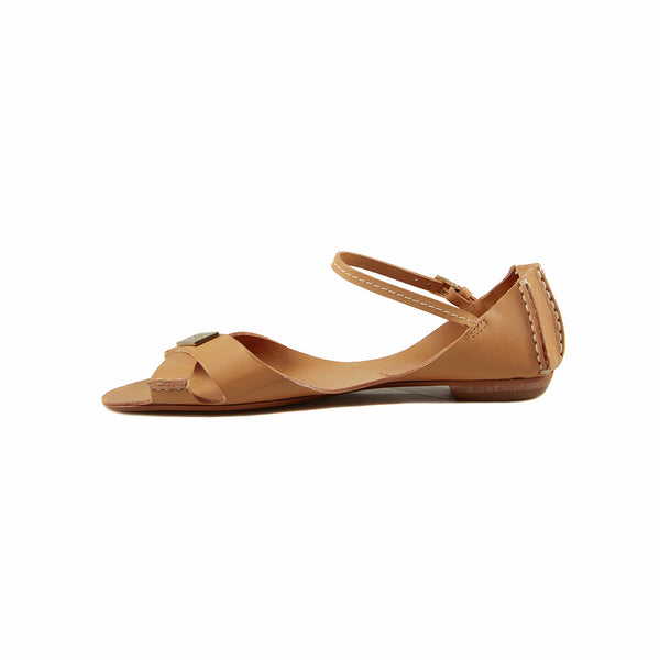 Tajali Leather Sandals - Beige