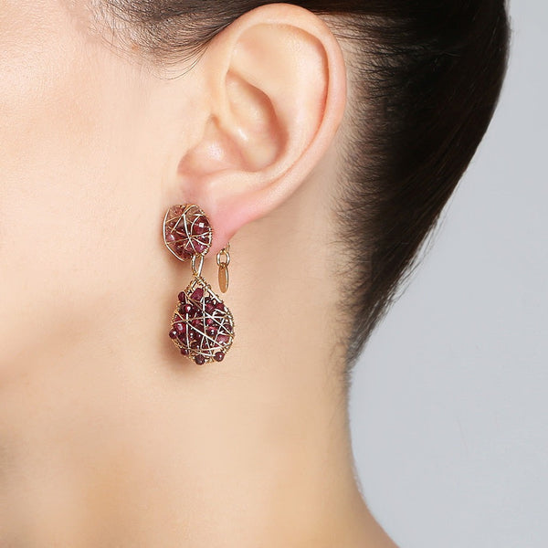 Lucia Red Button Dangle Earrings - Ruby, Garnet, Tourmaline - TARBAY