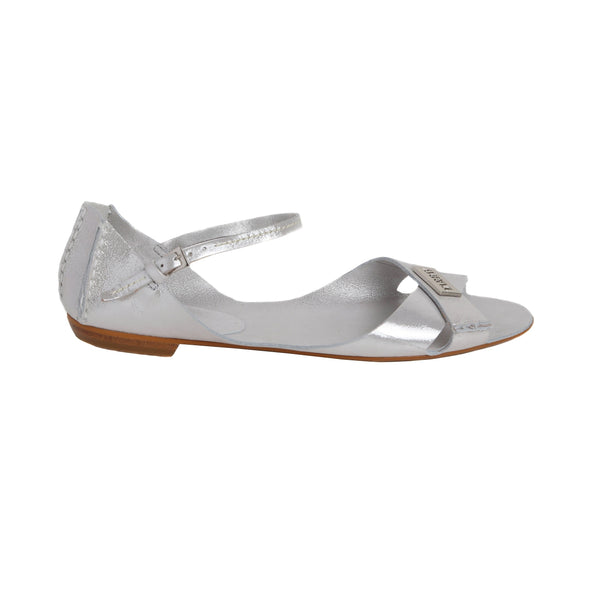 Tajali Leather Sandals - Metallic Silver