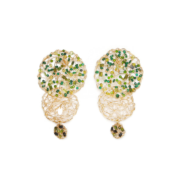 Aura Dangles Green Earrings