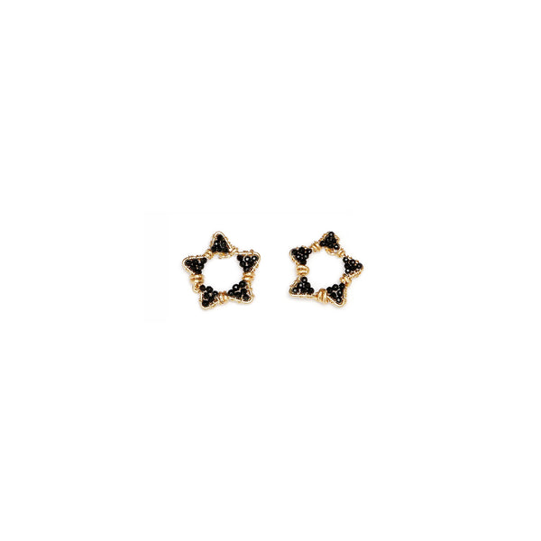 Star Black Earrings