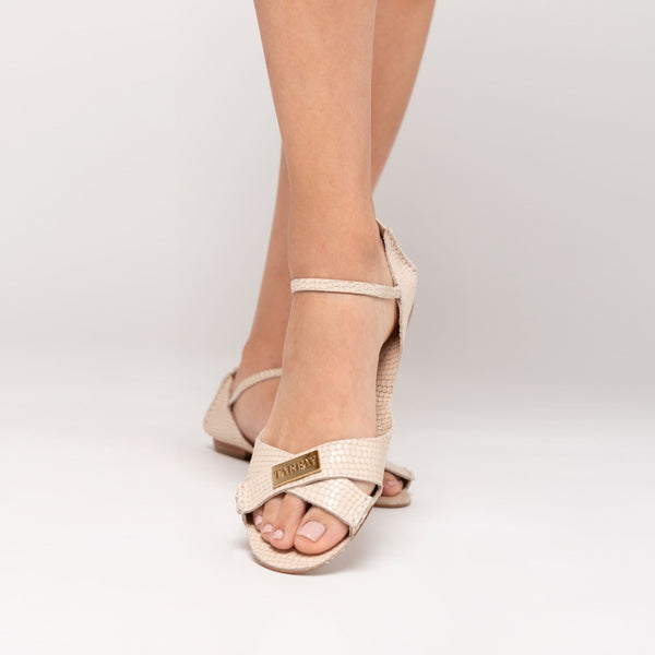 Tajali Leather Sandals - Viper Off White - TARBAY