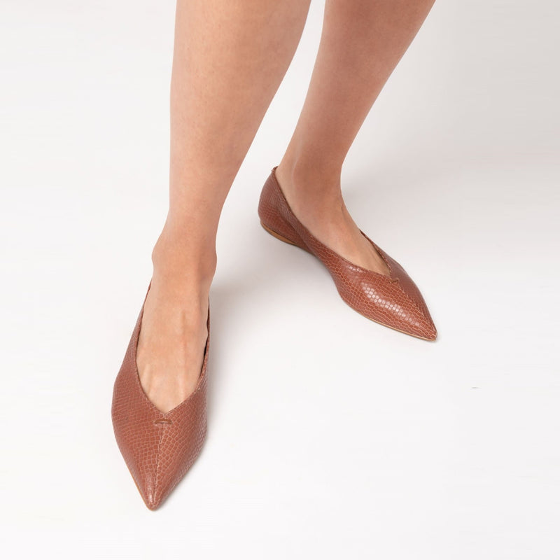 Grove Leather Flat Shoes - Viper Caramel - TARBAY