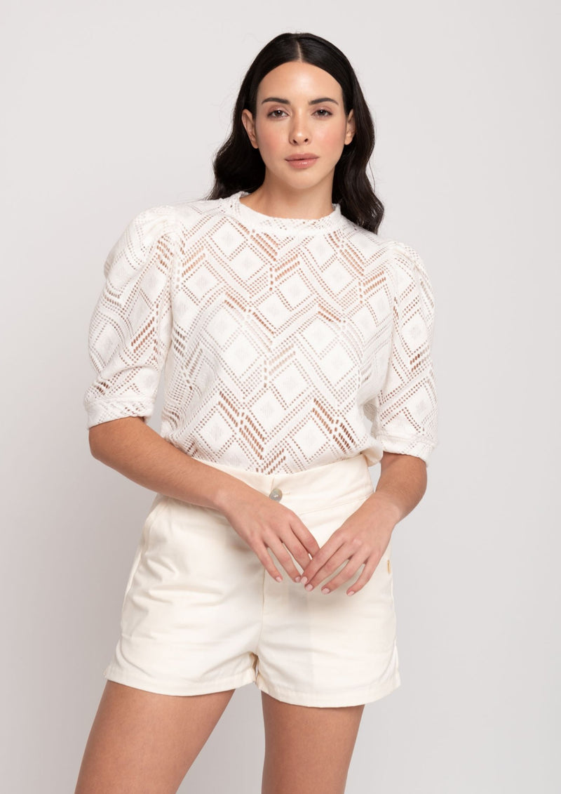 Nancy Lace Sweater - White - TARBAY