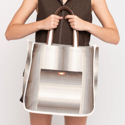 Aguajina Striped Tote Bag - Grey - TARBAY