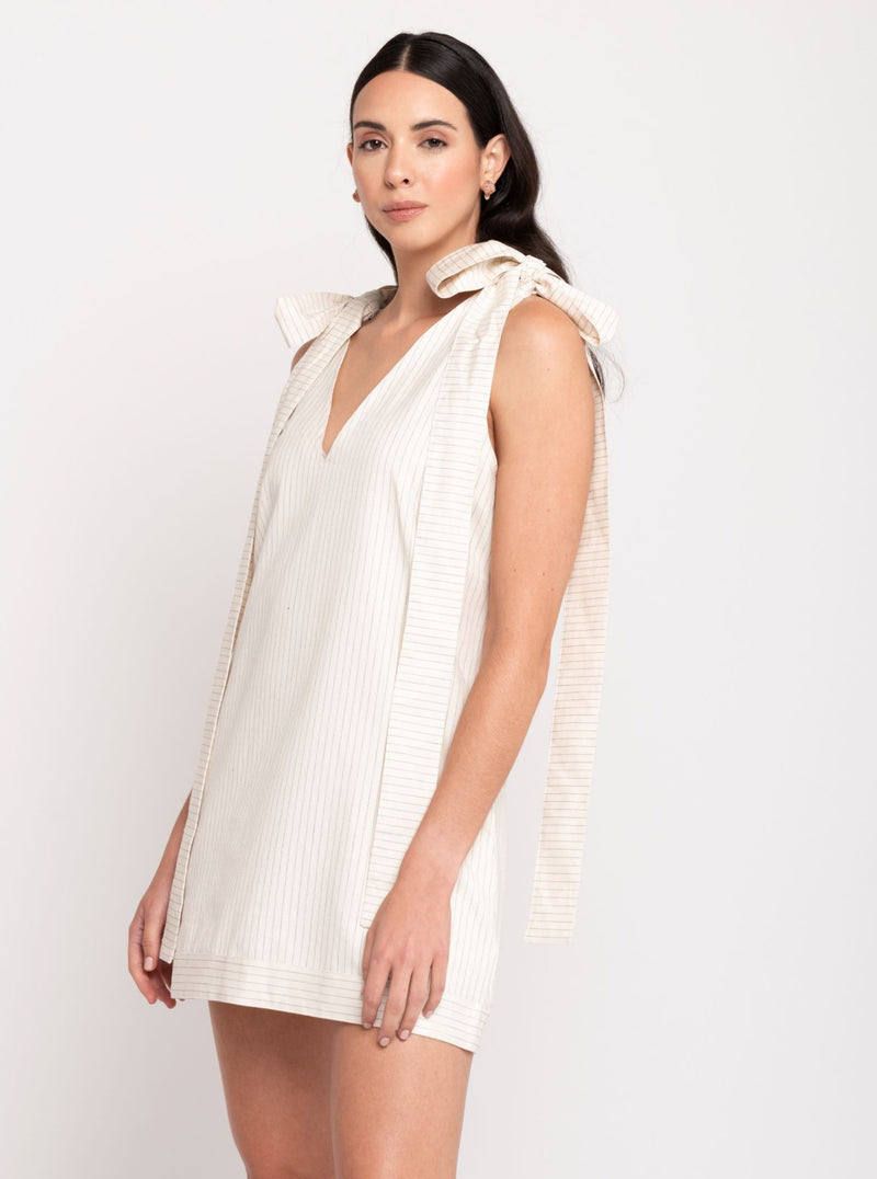 Olga Striped Dress - Cream & Black - TARBAY
