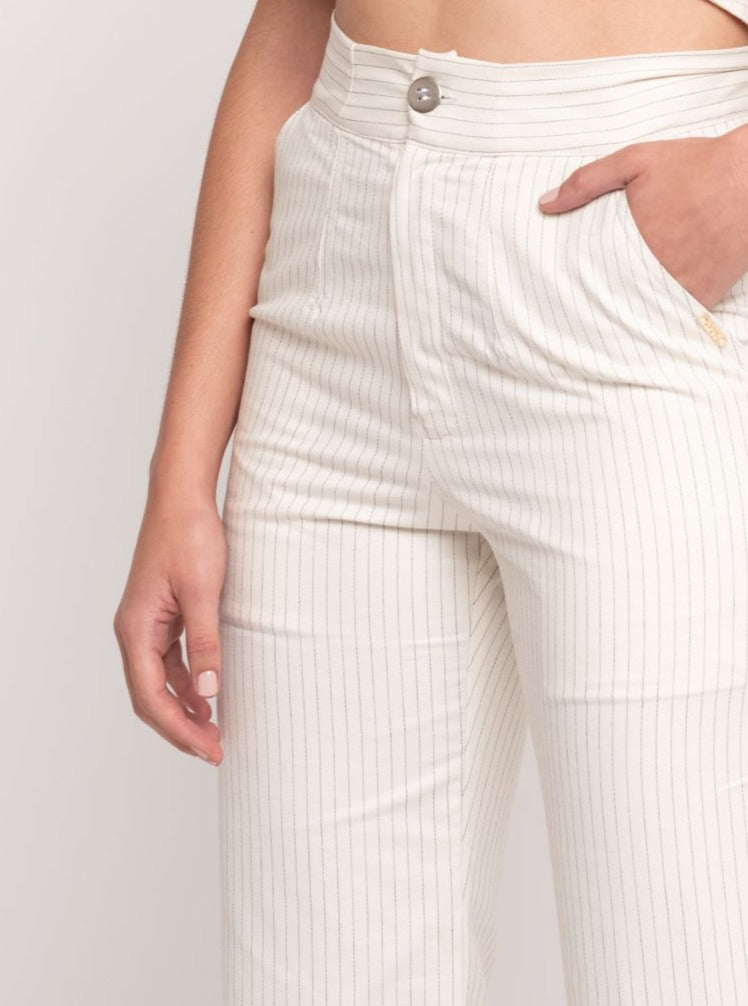 Olga Striped Pants - Cream & Black - TARBAY