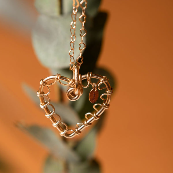 Tangled Heart Charm (35mm) - Yellow Gold - TARBAY