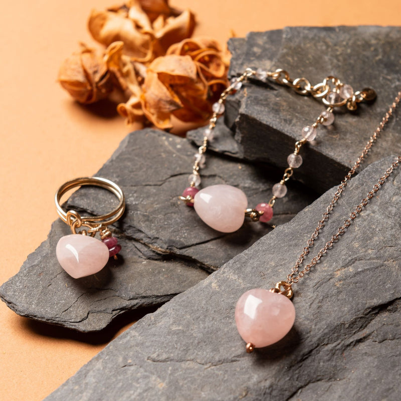 Heart Necklace - Rose Quartz - TARBAY