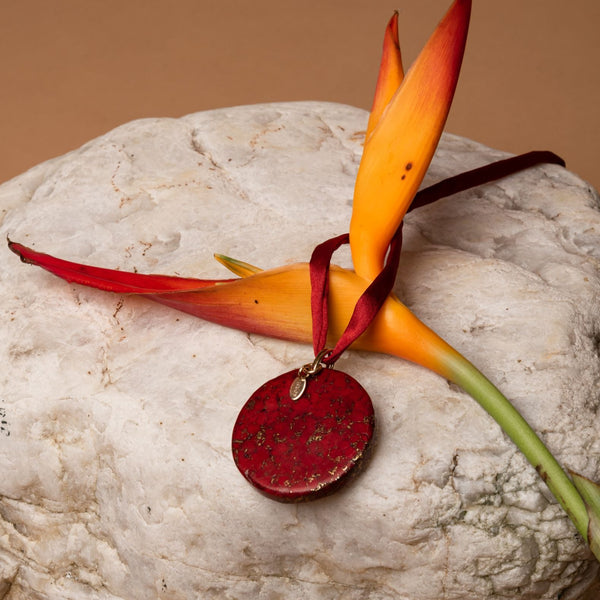 Amare Pendant with Silk Ribbon - Red Coral - TARBAY