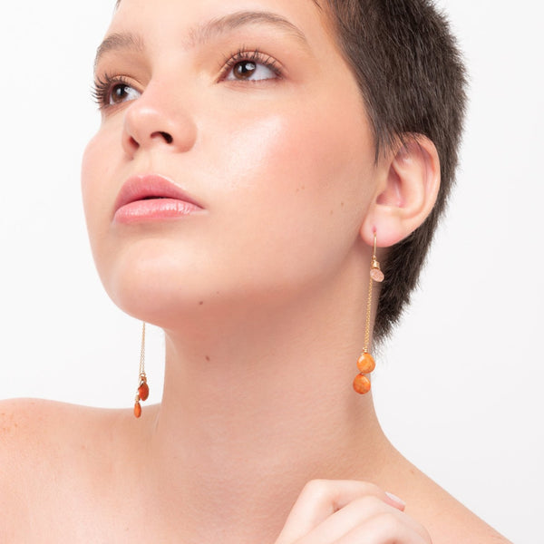 Rocio Dangle Earrings #1 - Calcite & Sun Stone - TARBAY