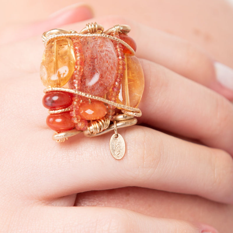 Mermelada Orange and Yellow Ring - Cornelian, Fire Opal, Spessartite, Moon Stone, Citrine, Imperial Topaz, Yellow aquamarine & Calcite
