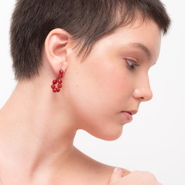 Lizzette Button Dangle Earrings - Cornelian