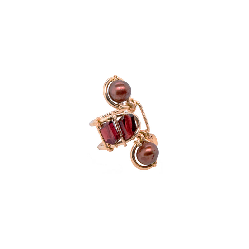 Serpentina Adjustable Ring - Pearl & Garnet