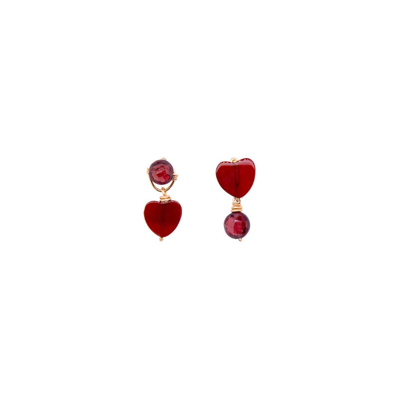 Bari Earrings #1 - Garnet & Agate