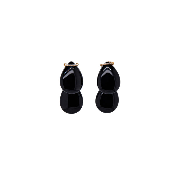 Cala Dangle Earrings #2 - Black Agate