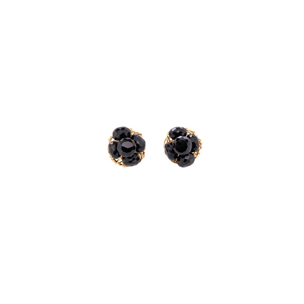 Coralia Button Earrings - Black Onyx