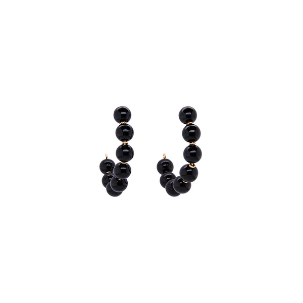 Acerola Hoop Earrings (50mm) - Black Onyx - TARBAY