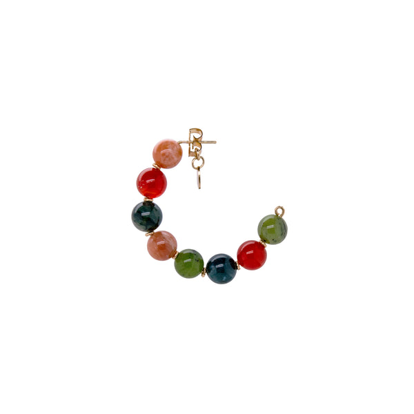 Acerola Hoop Earrings (50mm) - Moon stone, jade, Cornelian - TARBAY