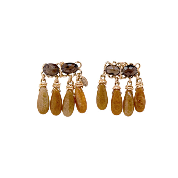 Marisma Earrings - Smoky Quartz & Yellow Jade
