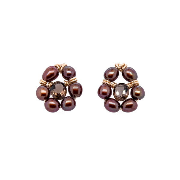 Buriti Earring #1 - Pearl & Smoky Quartz