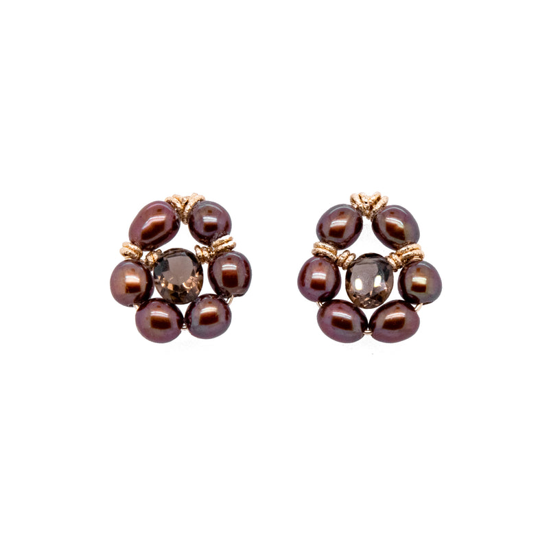 Buriti Earrings #1 - Pearl & Smoky Quartz - TARBAY