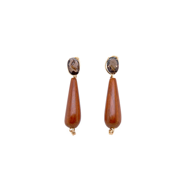 Wunuu Earring #2 - Smoky Quartz - TARBAY