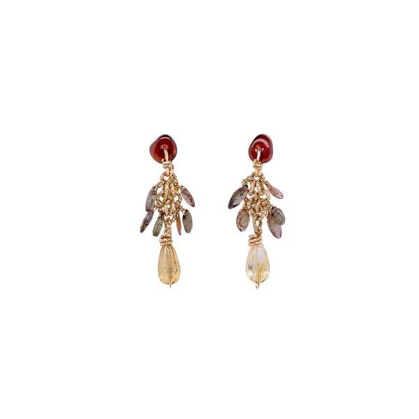 Yaruro Earrings - Andalusite & citrine
