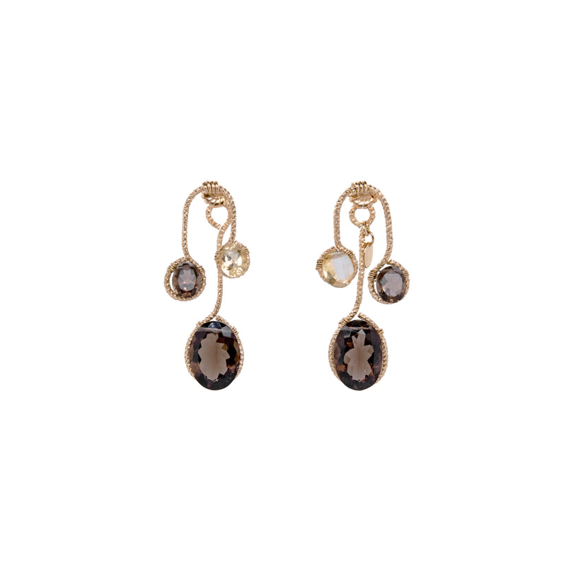 Lilli Earring - Smoky Quartz & Citrine