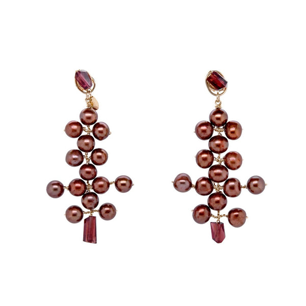 Aguaje Dangle Earrings #2 - Pearl & Garnet