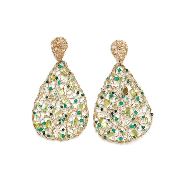 Gota Large Stud Green Earrings