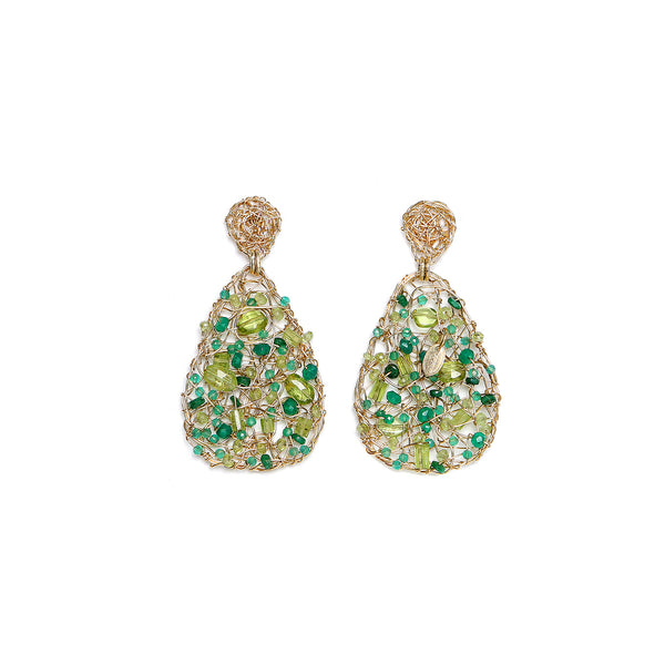 Gota 40mm  Green Earring