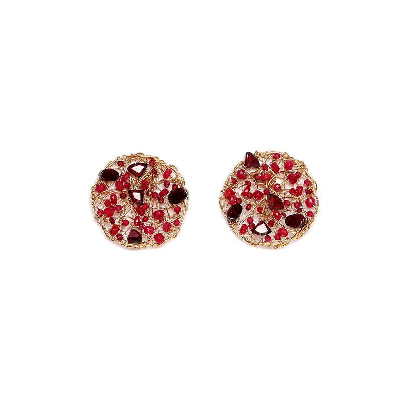 Aura Earring #1 (30mm) - Red Gems Mix