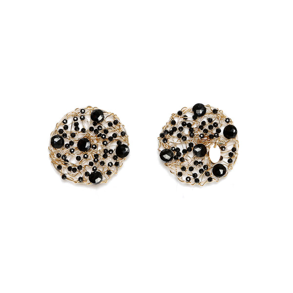 Aura Large Stud Onyx Earrings
