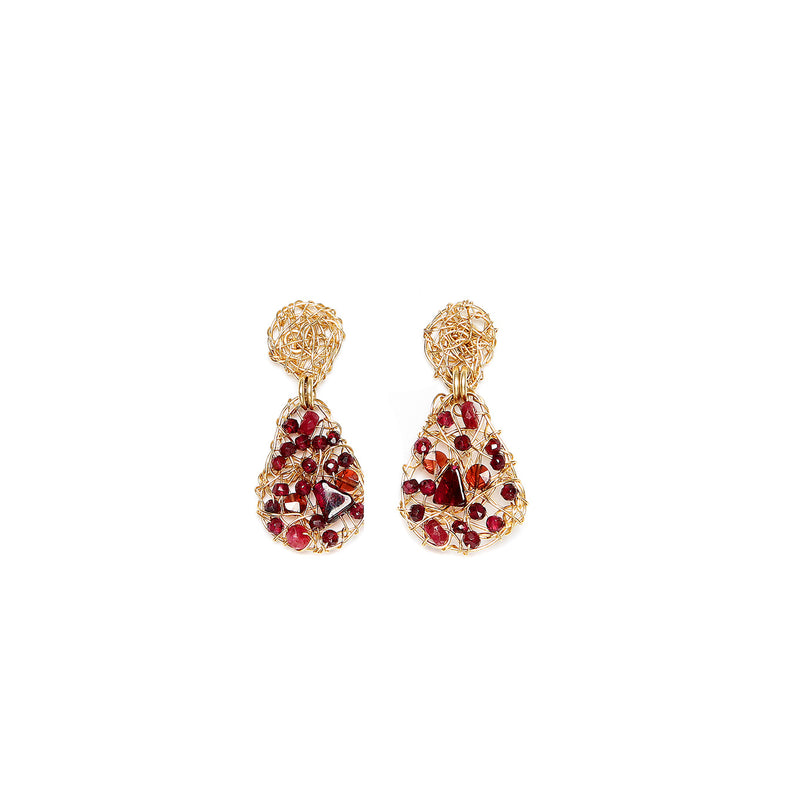 Gota 20mm  Red Earring