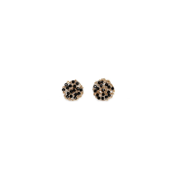 Aura Button Earrings (10mm) - Black onyx & black spinel - TARBAY