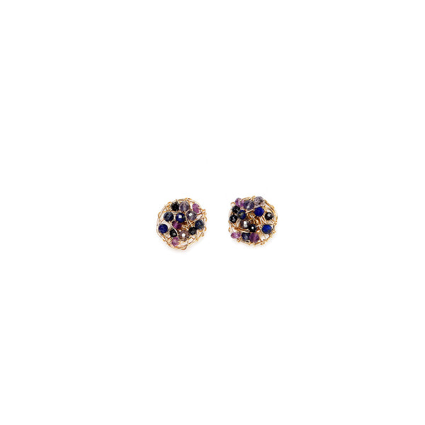Aura Button Earrings (10mm) - Sapphire, Tanzanite, Apatite, Sodalite, Amethyst - TARBAY