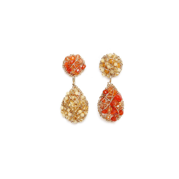 Lucia Orange Button Dangle Earrings - Cornelian, Fire Opal, Spessartite, Moon Stone, Sun Stone, Citrine, Imperial Topaz, Yellow Aquamarine, Calcite - TARBAY