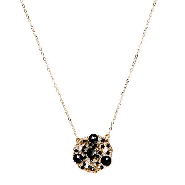 Aura Pendant (20mm) with chain - Black onyx & black spinel