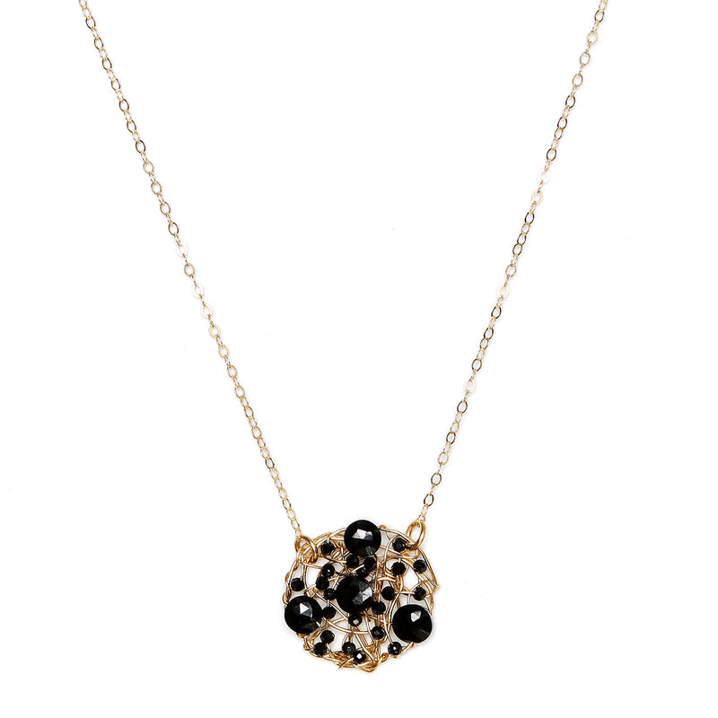 Aura Pendant (20mm) with chain - Black onyx & black spinel - TARBAY