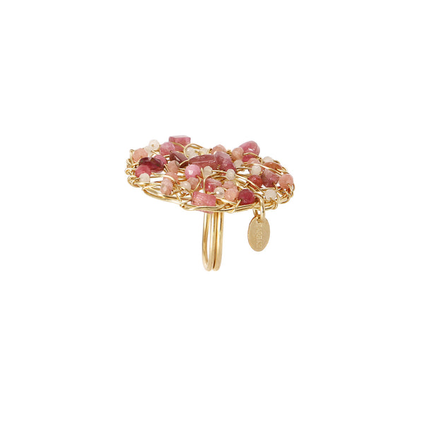 Aura Ring #1 (40mm) - Rhodochrosite, rose sapphire, rose topaz, rose tourmaline & rose quartz - TARBAY