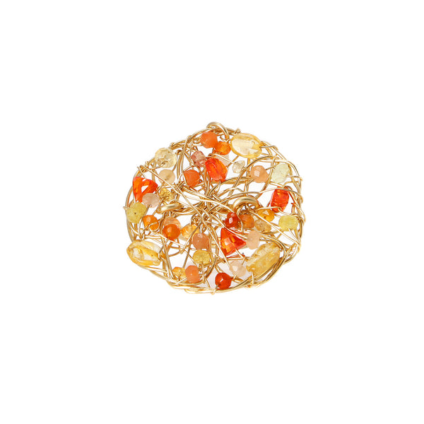 Aura Ring #1 (40mm) - Yellow & Orange Gems Mix - TARBAY