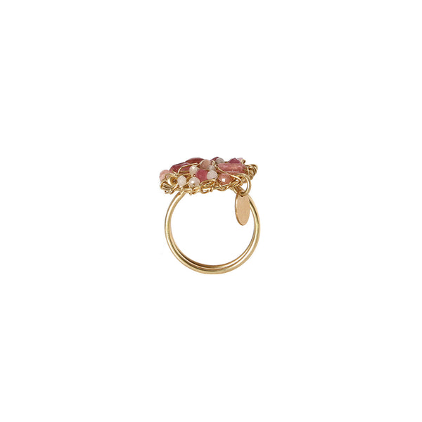 Aura Ring #1 (20mm) - Rhodochrosite, rose sapphire, rose topaz, rose tourmaline & rose quartz - TARBAY