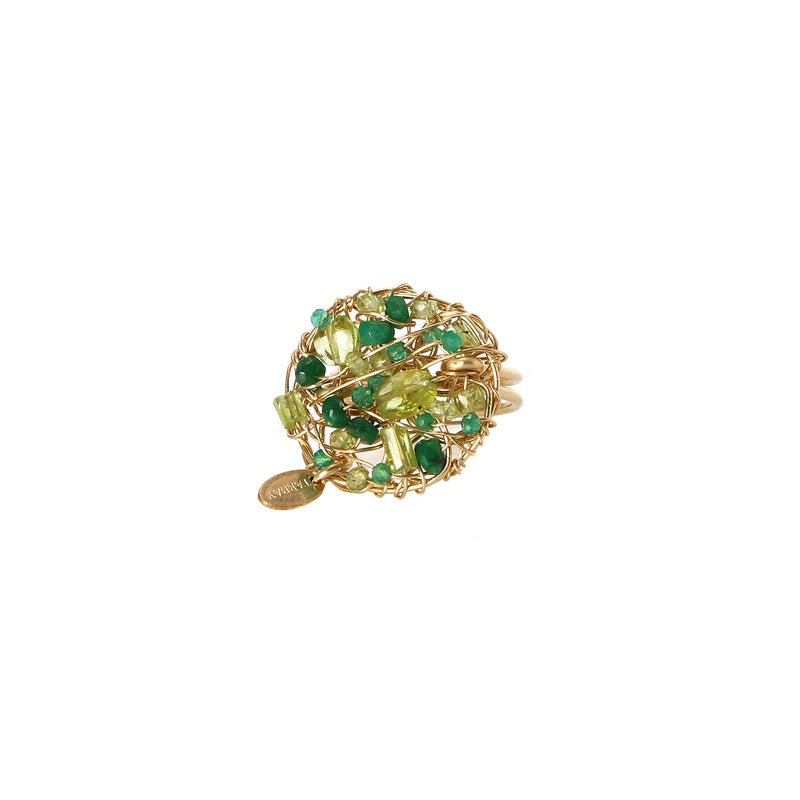 Aura Ring #1 (20mm) - Peridot, emerald, green onyx, chalcedony, prehnite, vessonite, green amethyst & chrysoprase - TARBAY