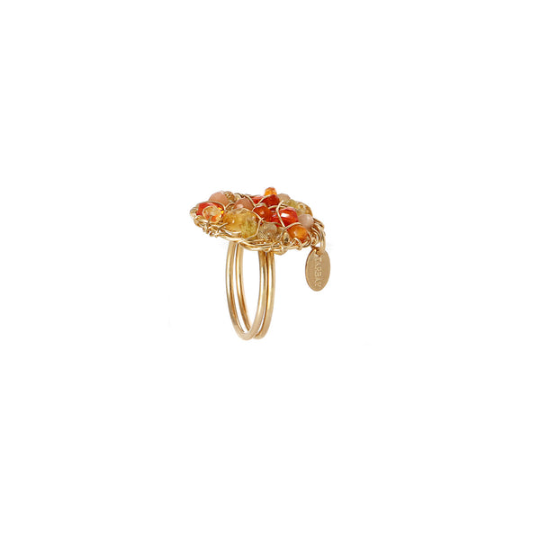 Aura Ring #1 (20mm) - Yellow & Orange Gems Mix