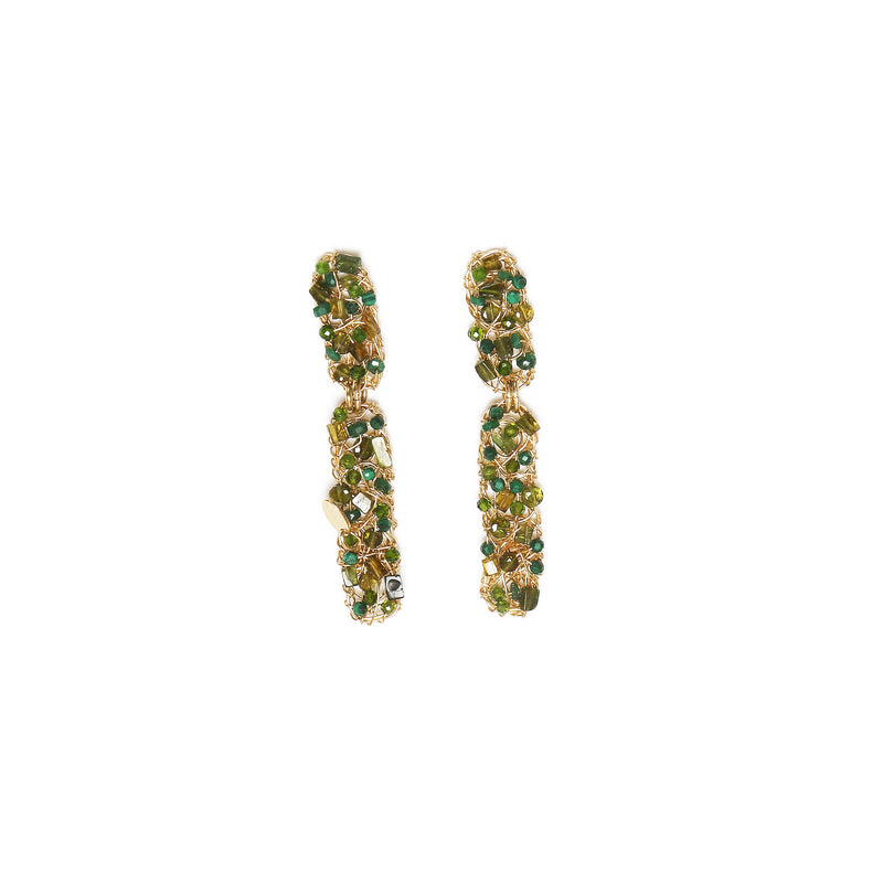 Rascacielo Green Dangle (75mm) Earrings