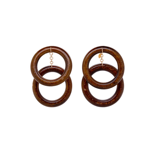 Wunuu Wood Dangle 80mm Earring