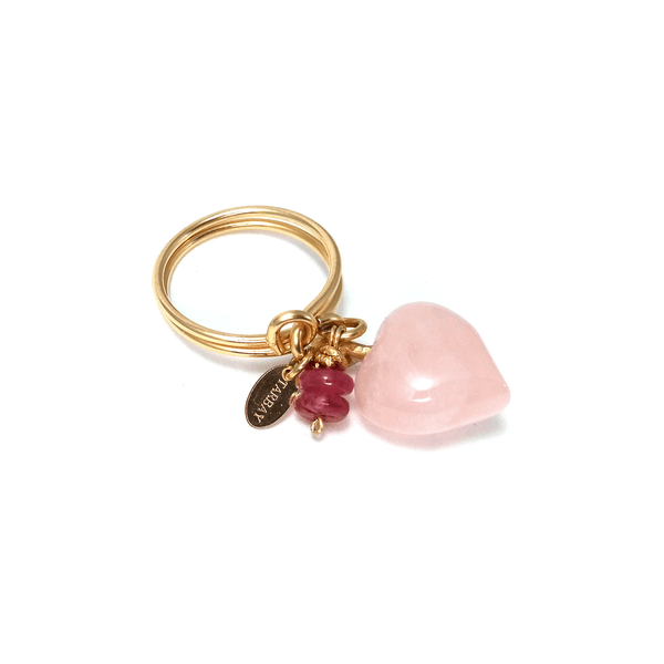Heart Solitaire Ring - Rose Quartz & Ruby - TARBAY