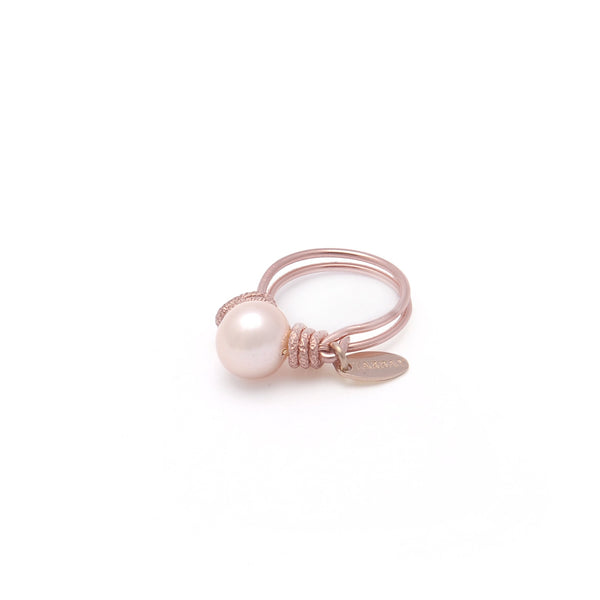 Pearl Classic Ring (10mm) - Salmon Pearl & Rose Gold