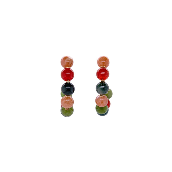 Acerola Hoop Earrings (50mm) - Moon stone, jade, carnelian